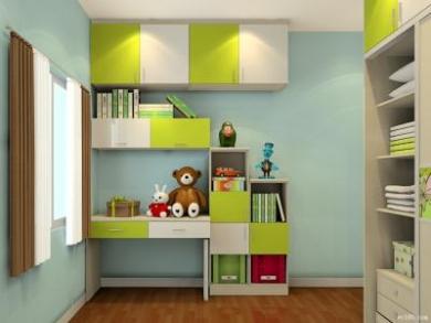 儿童浅绿纯白现代书柜